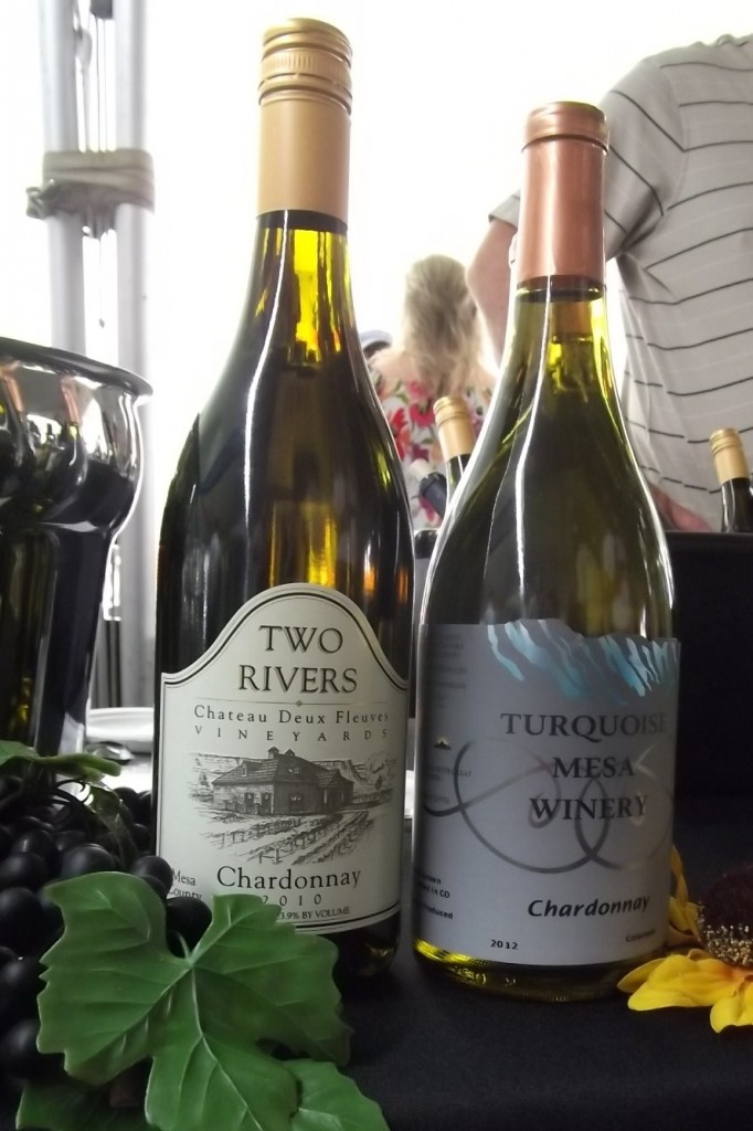 Two Rivers chardonnay (left)