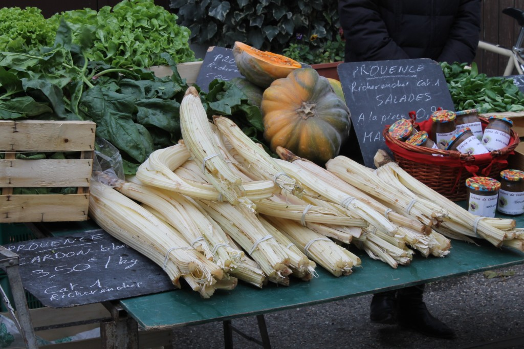 Some of Provence's favourite winter vegetables. Those are cardoons at the front and they make an excellent gratin.