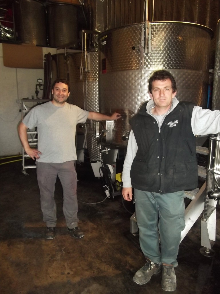 Damien Robelet (left) and Jerome Ogier in the fermentation cellar of Domaine Serines d'Or.