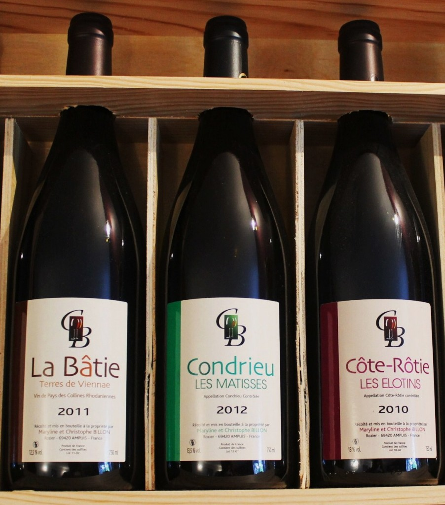 "Christophe Billon's ""La Batie"" sitting alongside his Condrieu and Cote-Rotie."