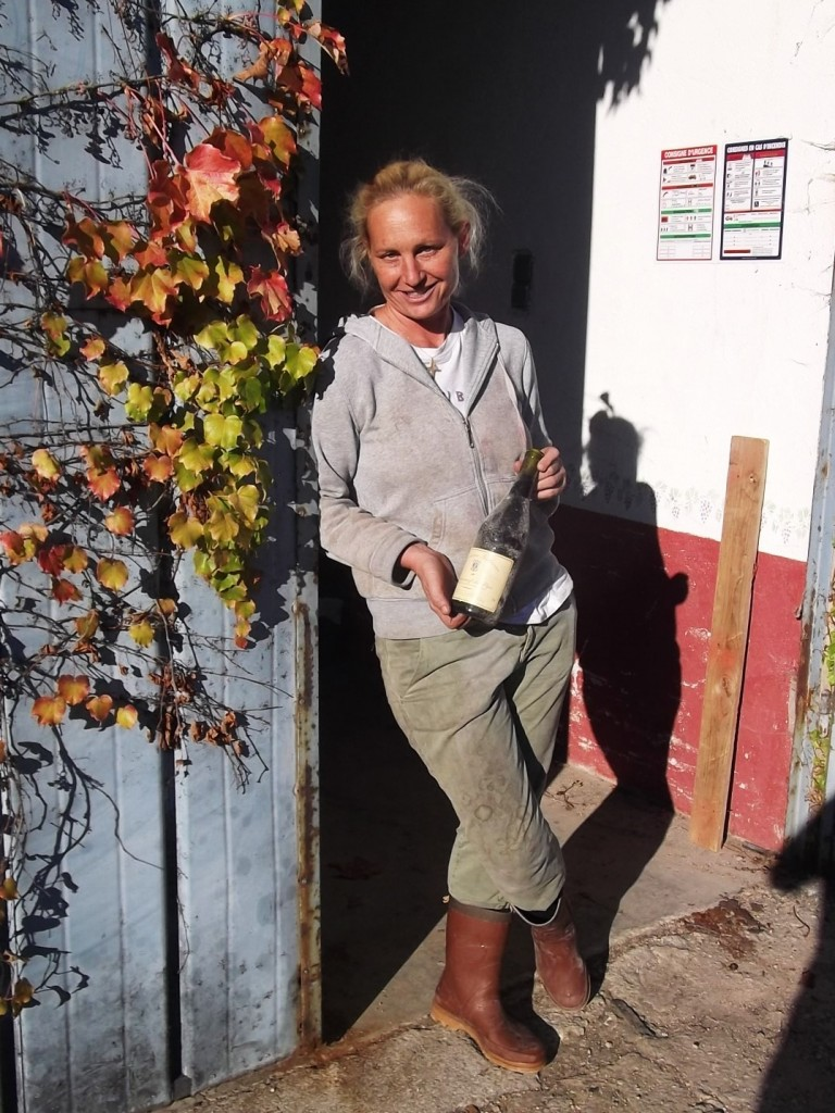 Coralie Goumarre in the doorway of her cellar at Domaine Galevan.