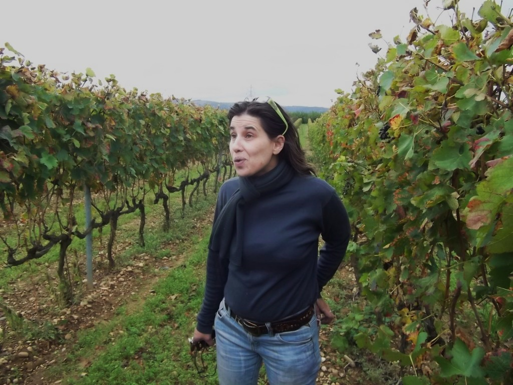 Christelle Betton in the Les Chassis vineyards south of Tain l'Hermitage.
