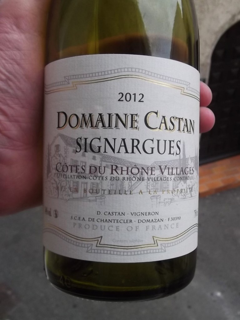 "A typical label for a wine from a Named Village. Underneath the vintage you have the producer's name (Domaine Castan), the ""village"" name, Signargues, and then, under that, Côtes-du-Rhône Villages."